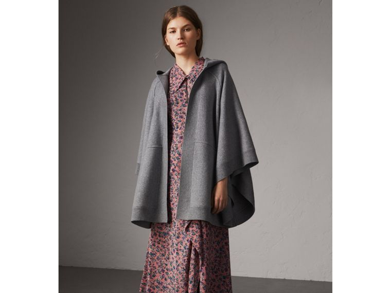 Wool Cashmere Blend Hooded Poncho in Mid Grey Melange - Women | Burberry Australia - cell image 4