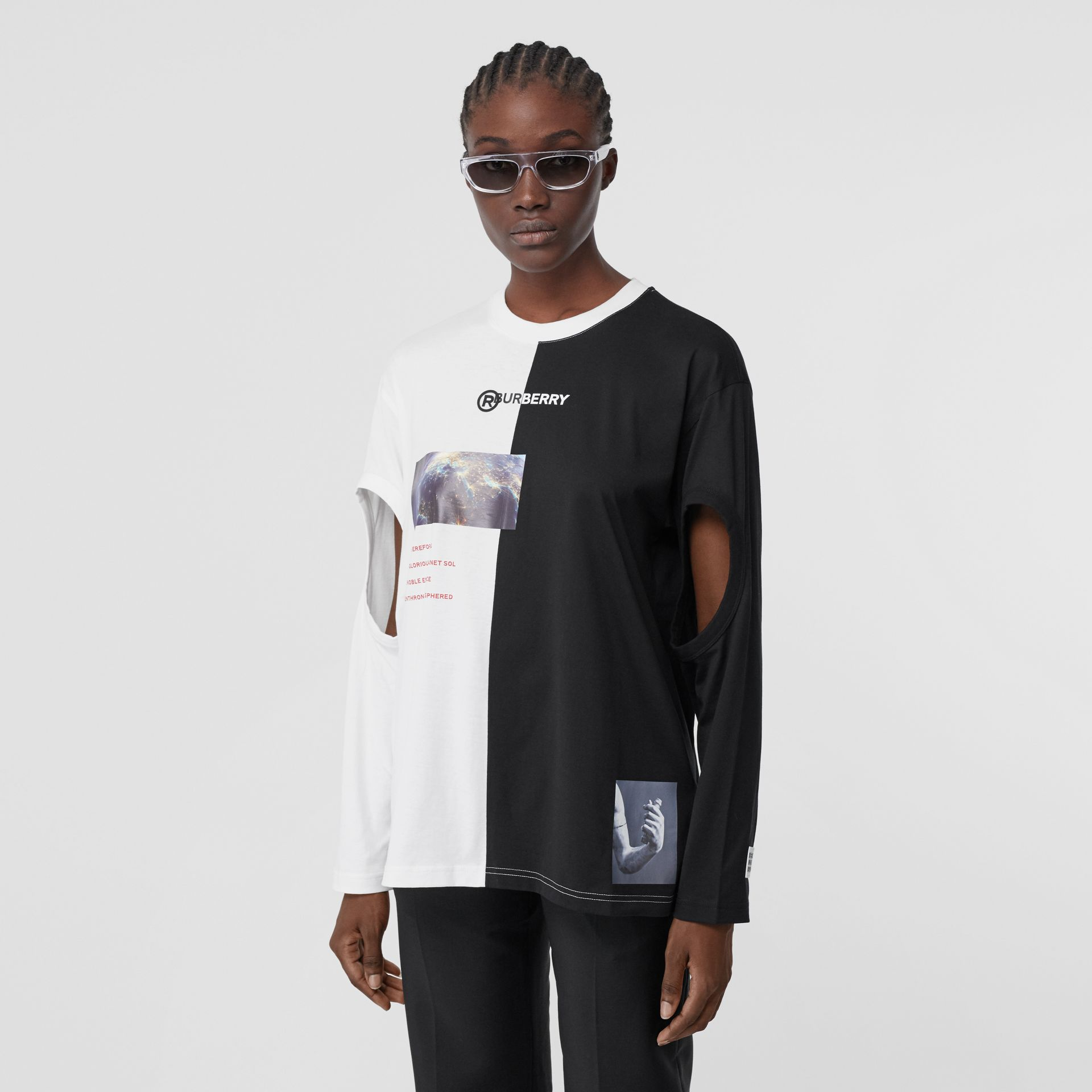 Cut-out Sleeve Montage Print Cotton Oversized Top in Black - Women | Burberry United Kingdom - gallery image 7