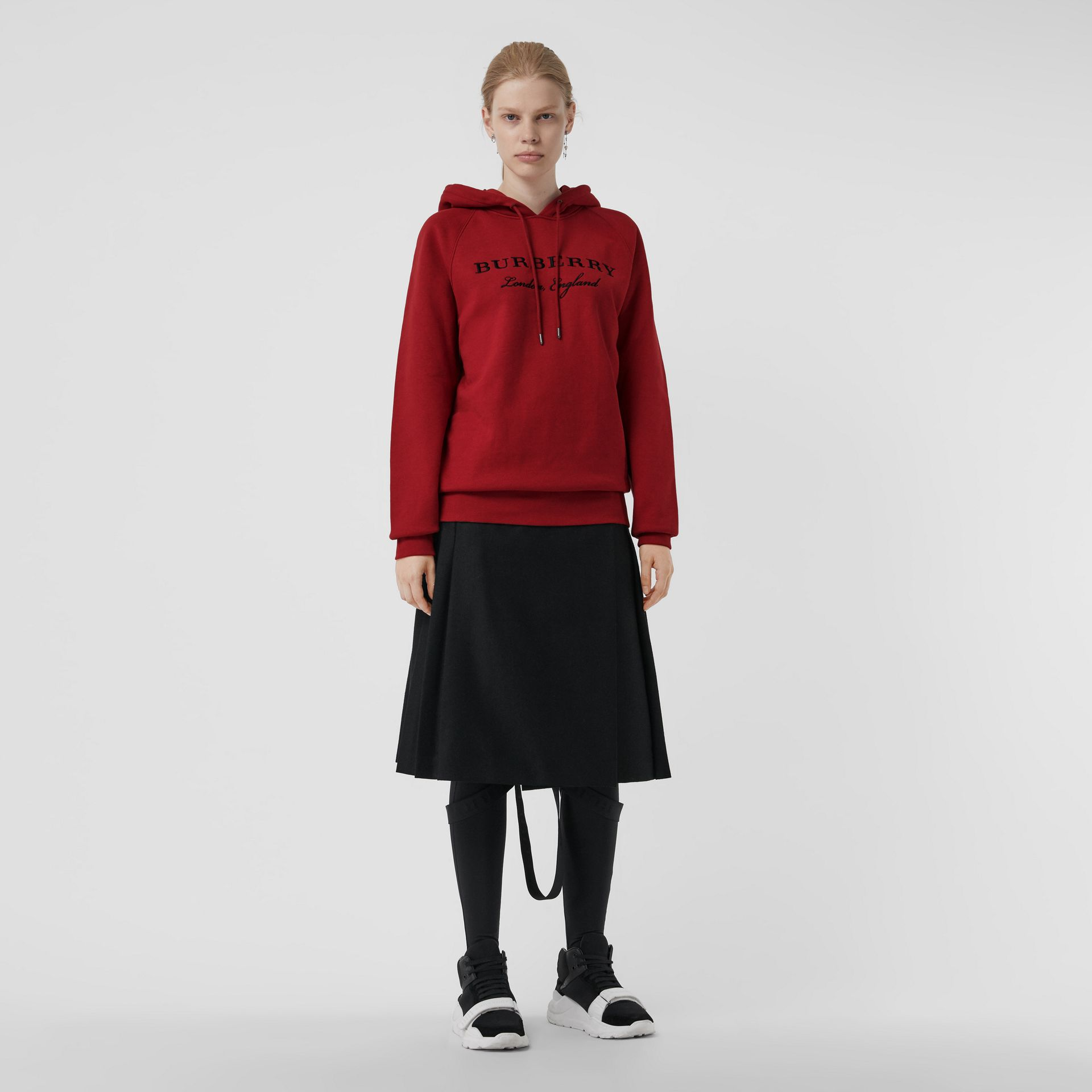 Embroidered Hooded Sweatshirt in Parade Red - Women | Burberry United Kingdom - gallery image 0