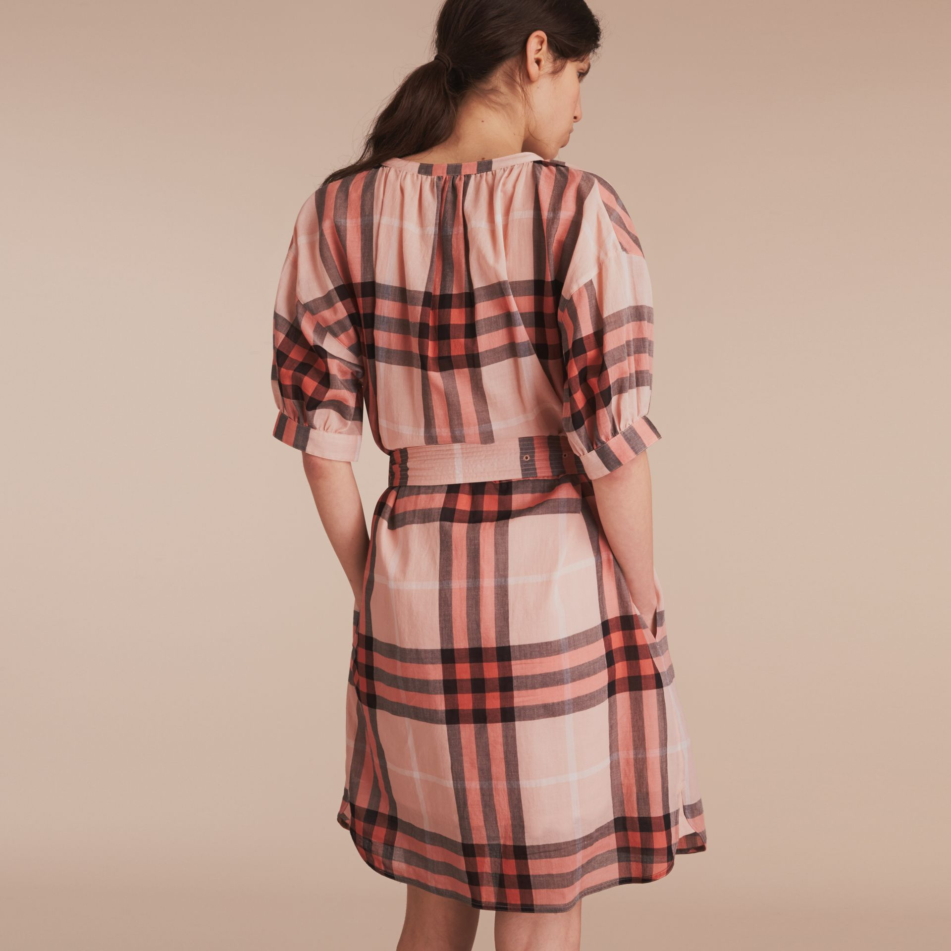 Apricot Short-sleeved Collarless Check Cotton Dress - gallery image 3