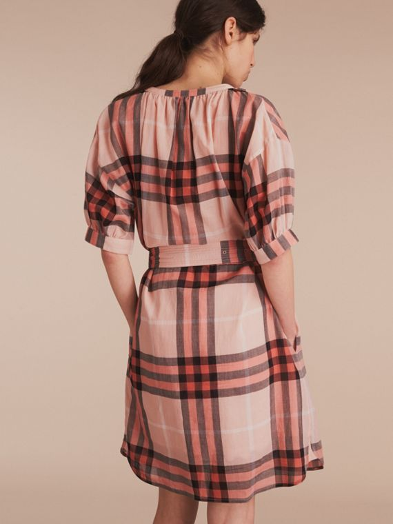 Apricot Short-sleeved Collarless Check Cotton Dress - cell image 2