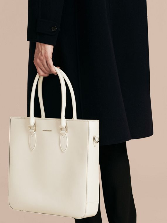 London Leather Tote Bag in Pale Stone - Men | Burberry - cell image 3
