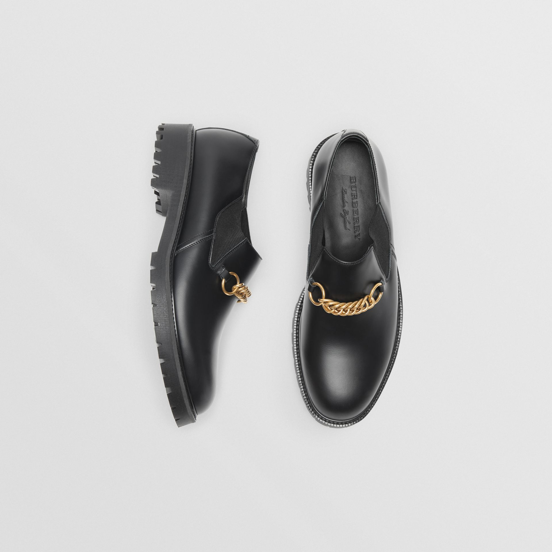 Link Detail Leather Shoes in Black - Men | Burberry - gallery image 0