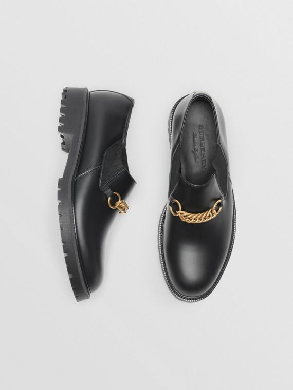 Link Detail Leather Shoes in Black