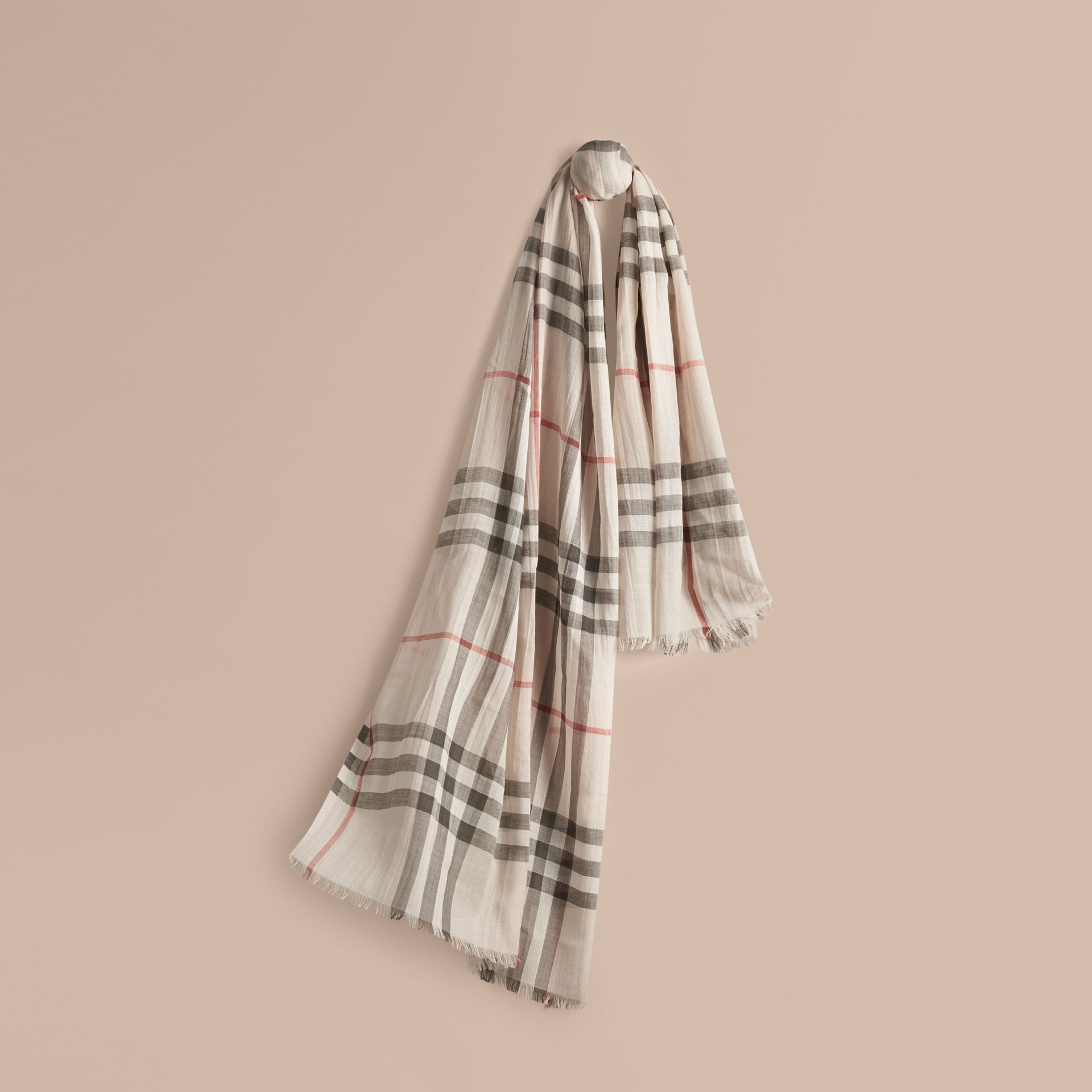 Lightweight Check Wool and Silk Scarf in Stone - gallery image 1