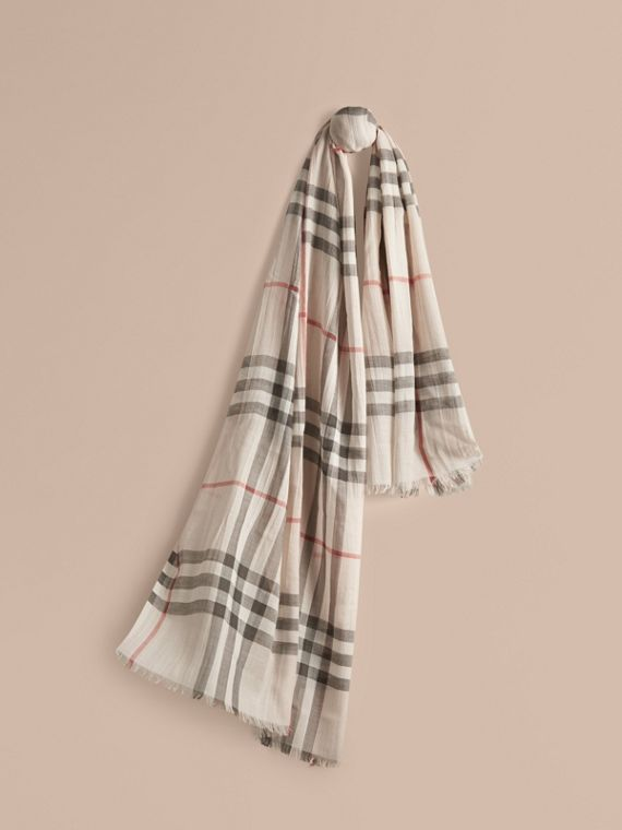 Lightweight Check Wool and Silk Scarf Stone