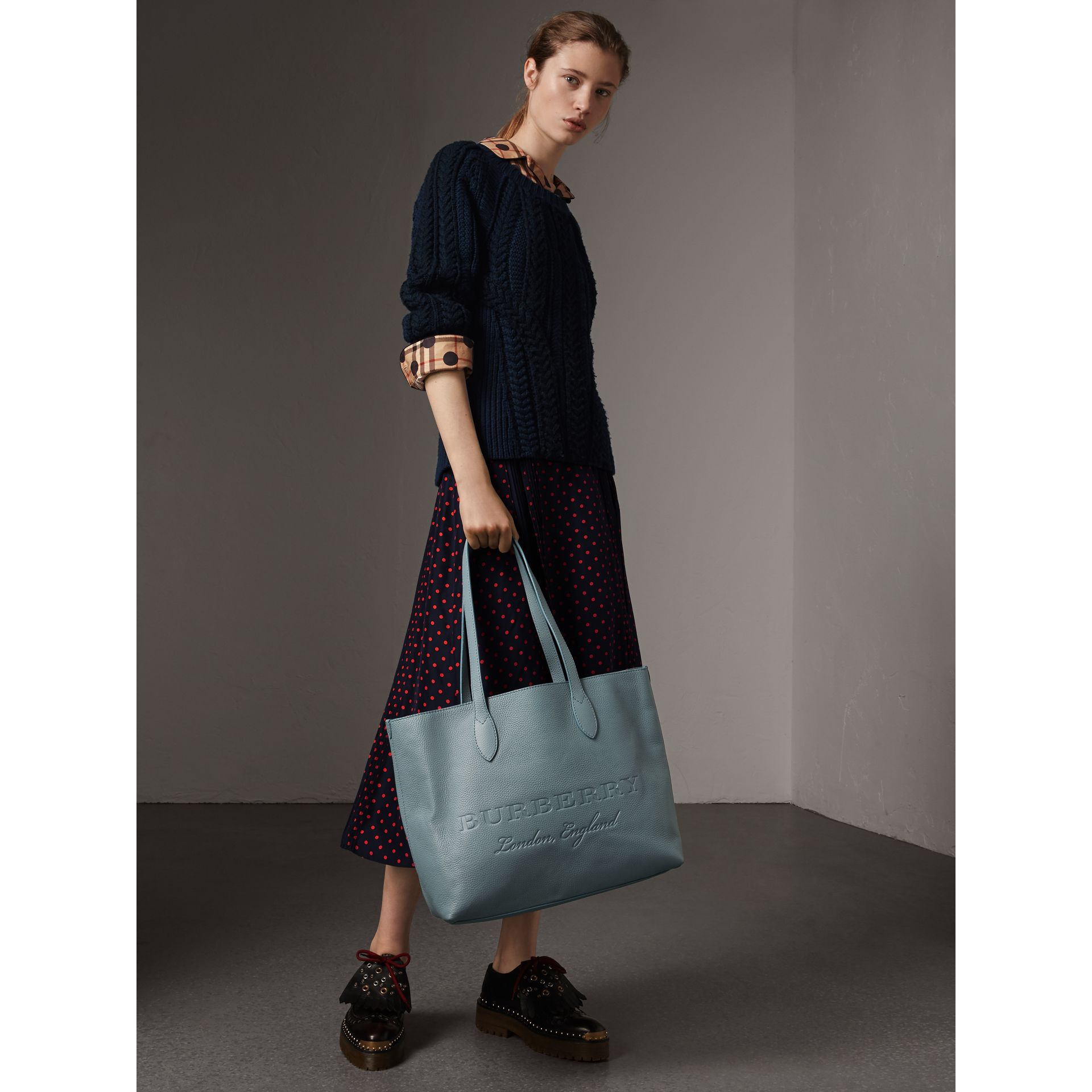 Large Embossed Leather Tote in Dusty Teal Blue | Burberry - gallery image 2