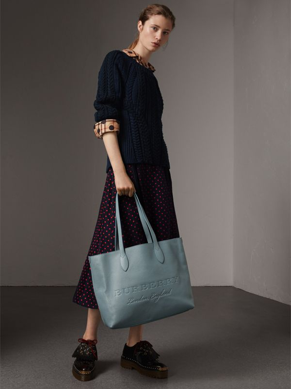 Embossed Leather Tote in Dusty Teal Blue | Burberry - cell image 2