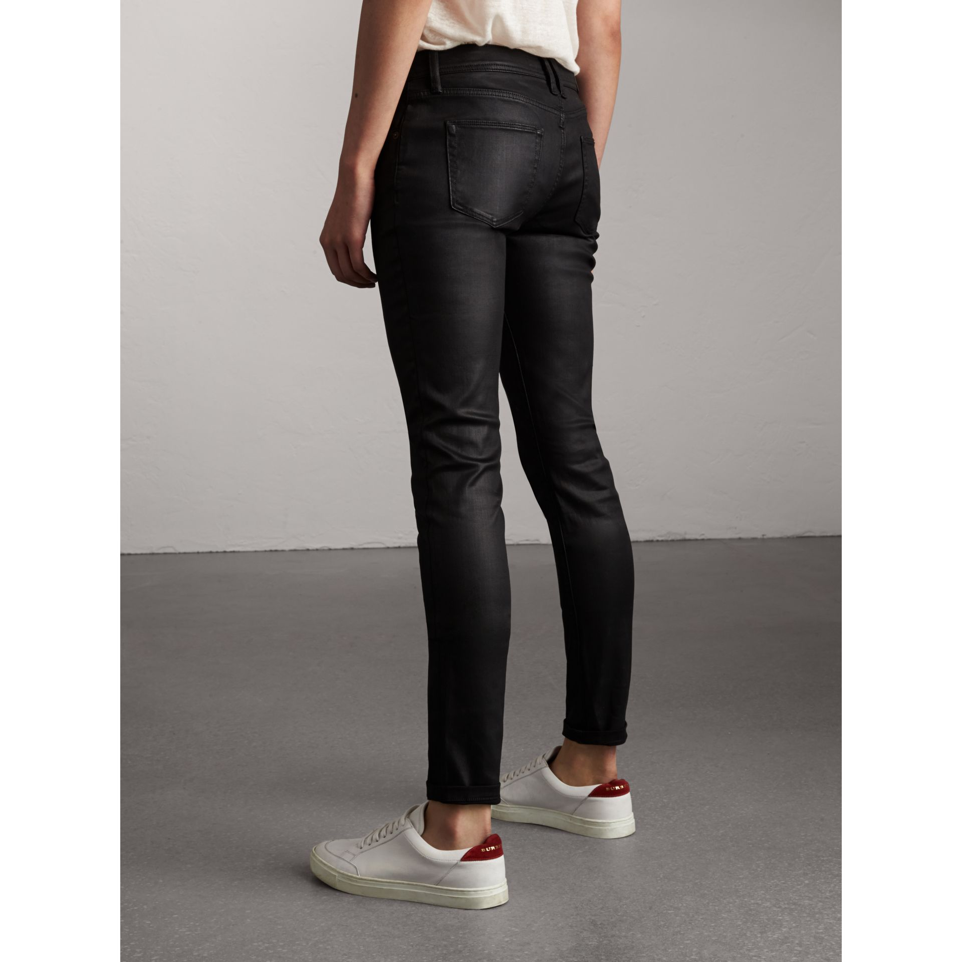 Skinny Fit Low-rise Wax Coated Jeans in Black - Women | Burberry Singapore - gallery image 3
