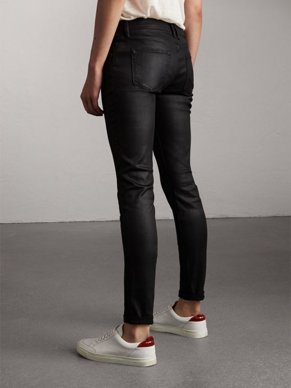 Skinny Fit Low-rise Wax Coated Jeans in Black - Women | Burberry - cell image 2
