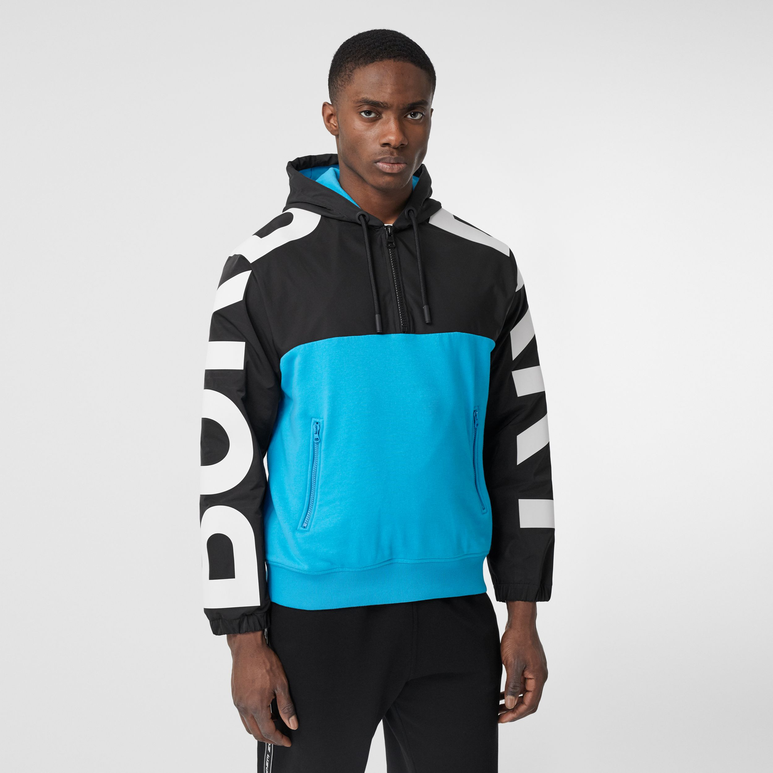 Logo Print Panel Cotton Hoodie in Brilliant Blue - Men | Burberry - 1