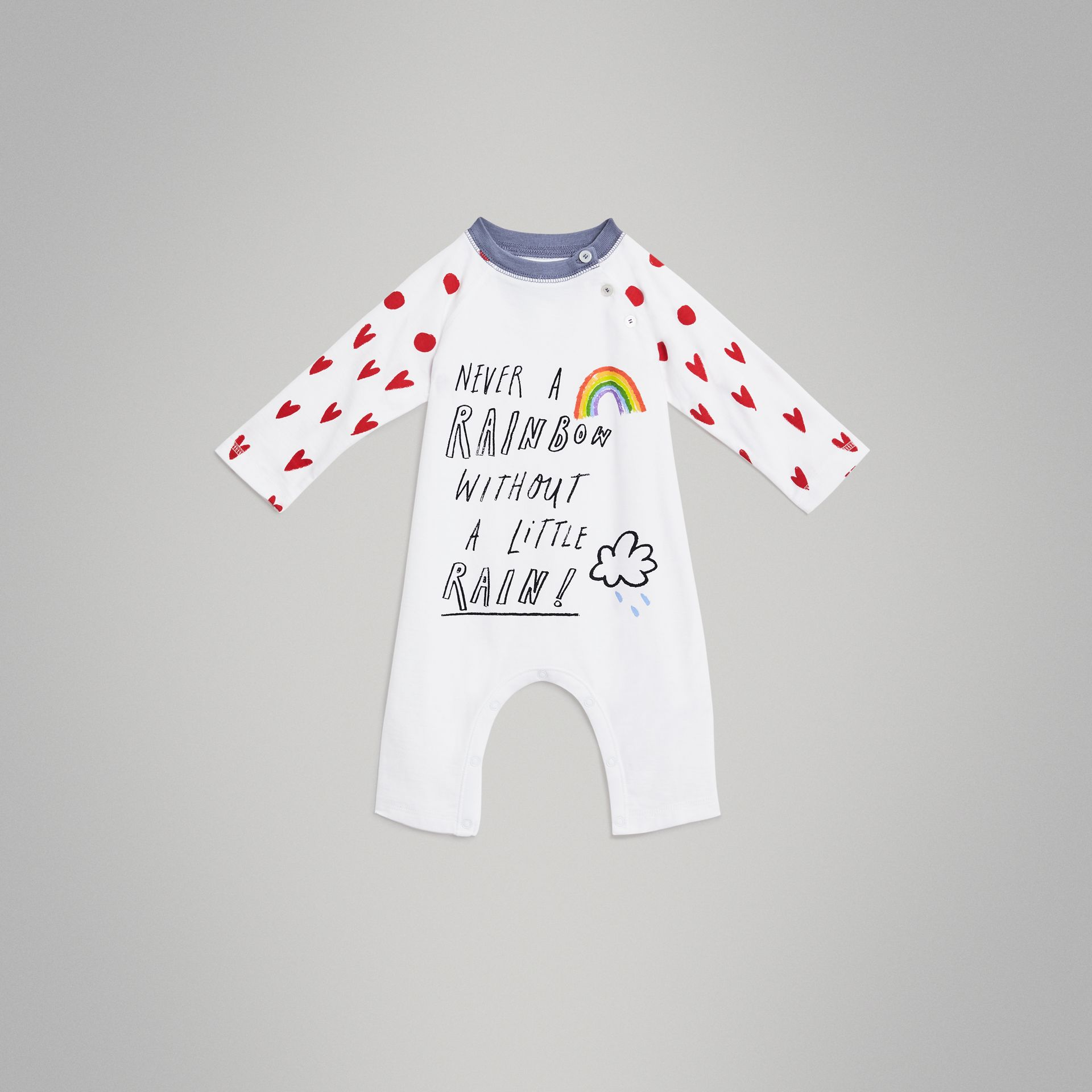 Weather Graphic Cotton Jumpsuit in White - Children | Burberry - gallery image 0