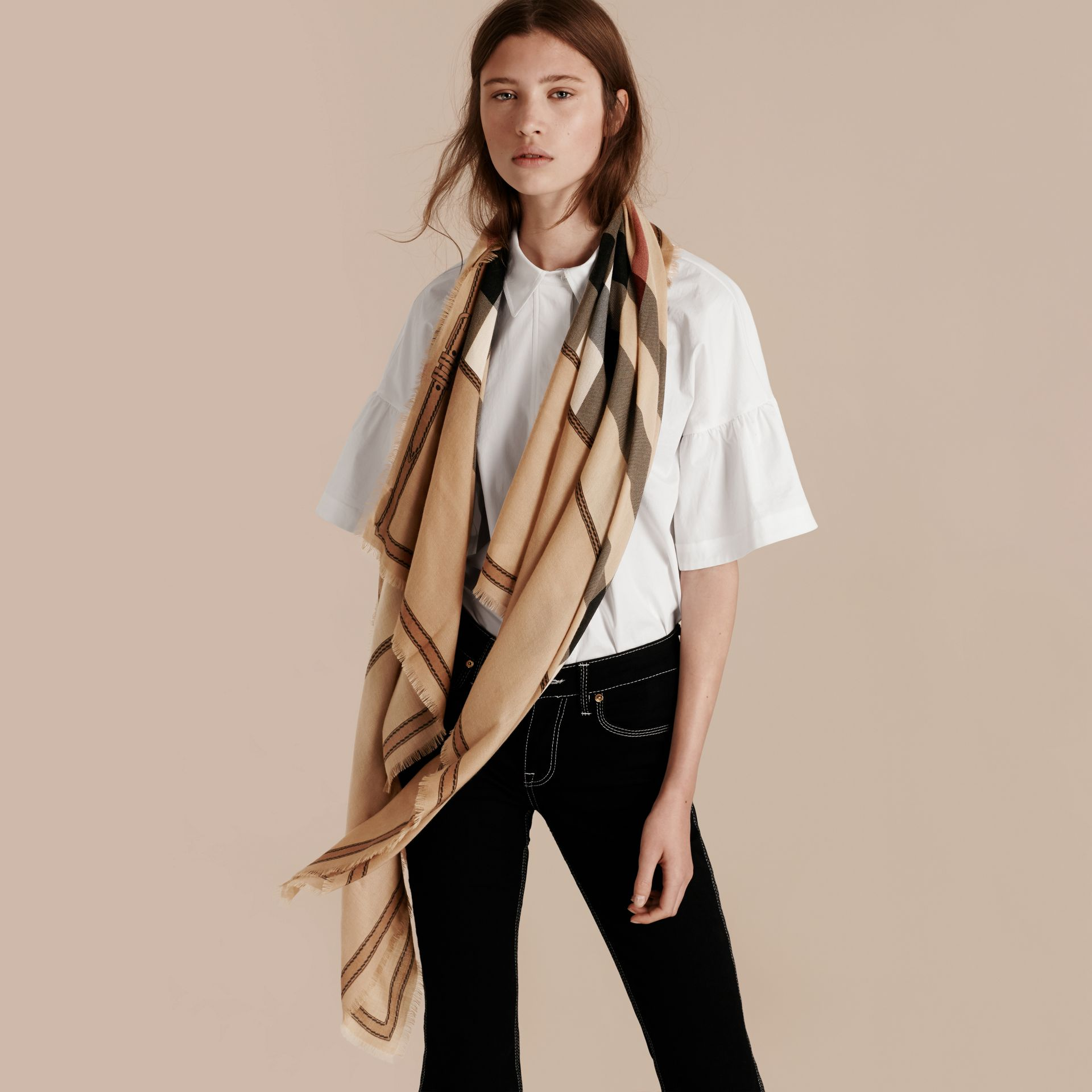 Contrast Border Horseferry Check Cashmere Scarf in Camel - gallery image 3