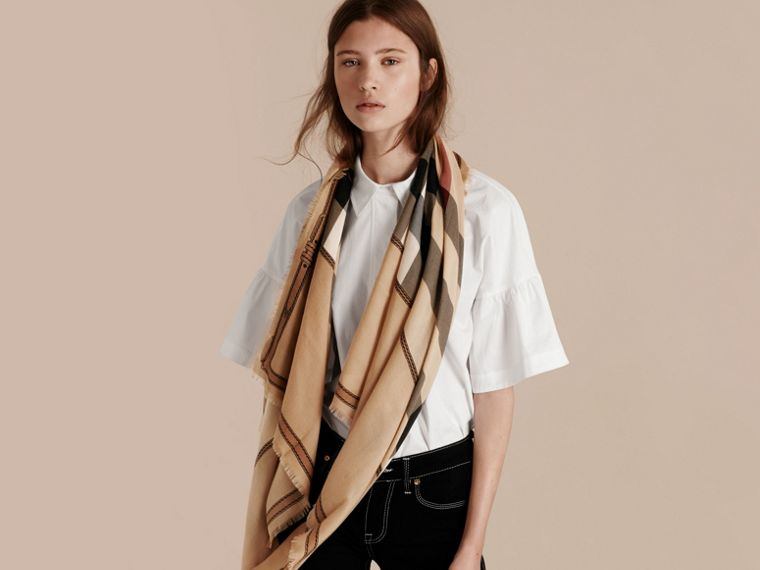 Contrast Border Horseferry Check Cashmere Scarf in Camel - Women | Burberry Canada - cell image 2