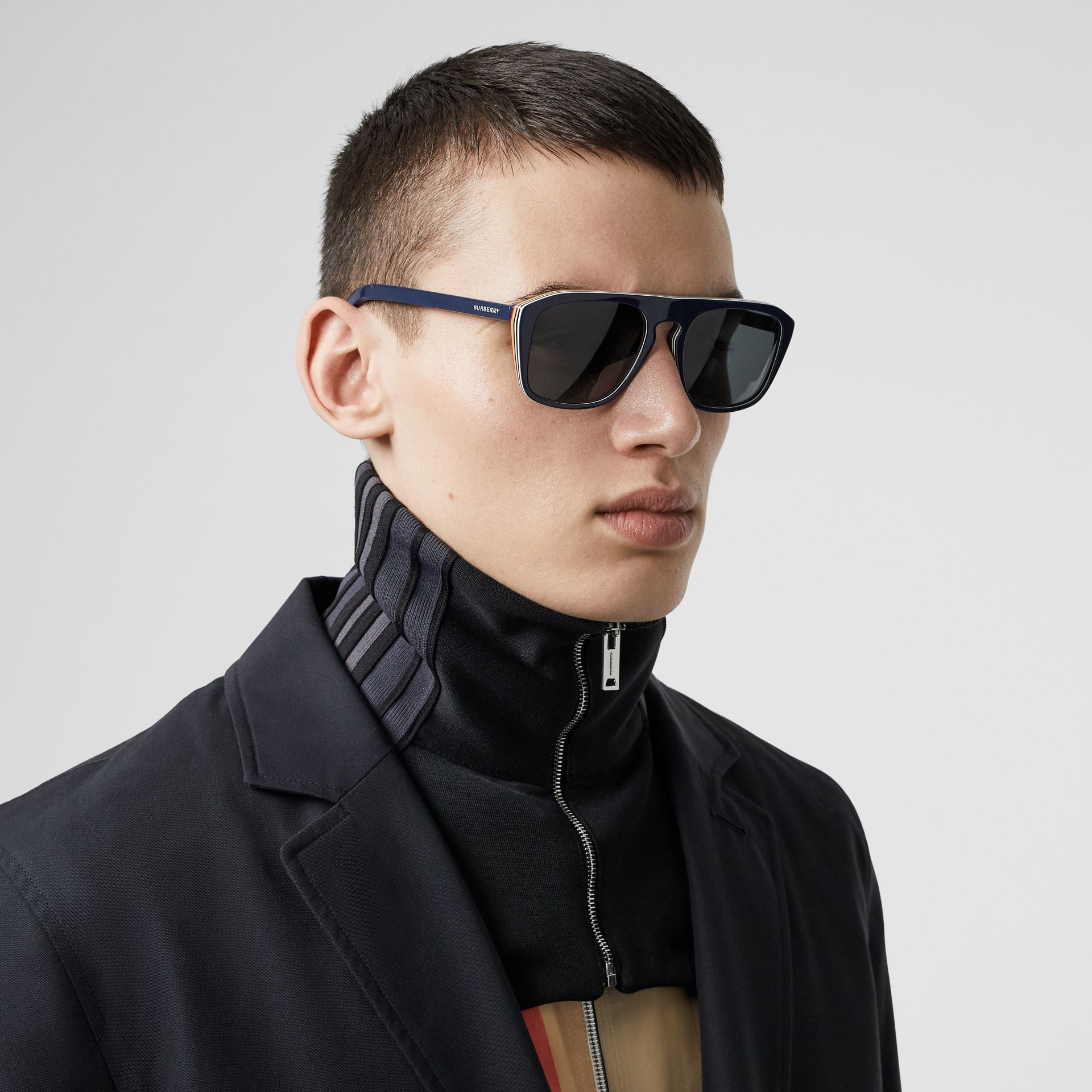 Icon Stripe Detail Square Frame Sunglasses in Blue - Men | Burberry United States - gallery image 2