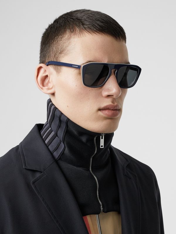 Icon Stripe Detail Square Frame Sunglasses in Blue - Men | Burberry Singapore - cell image 2