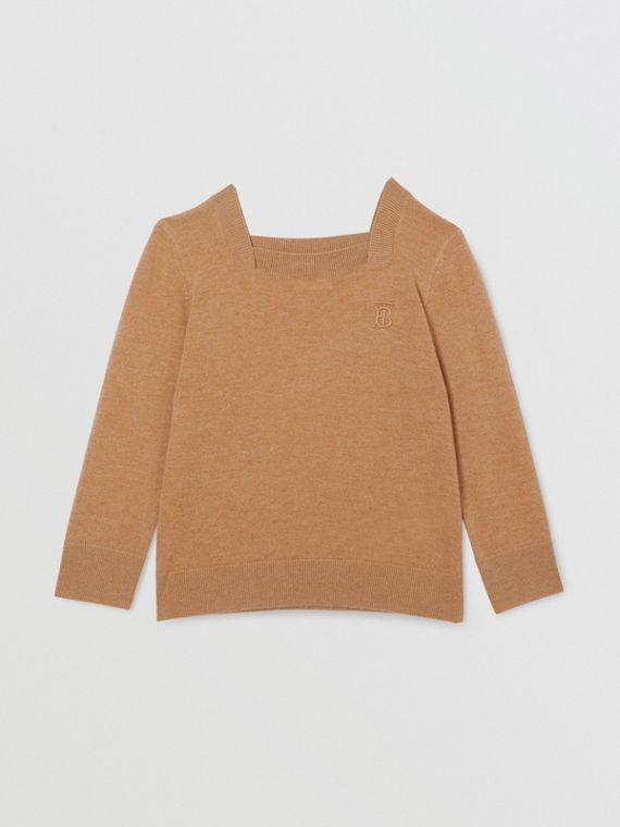 Monogram Motif Cashmere Sweater in Camel