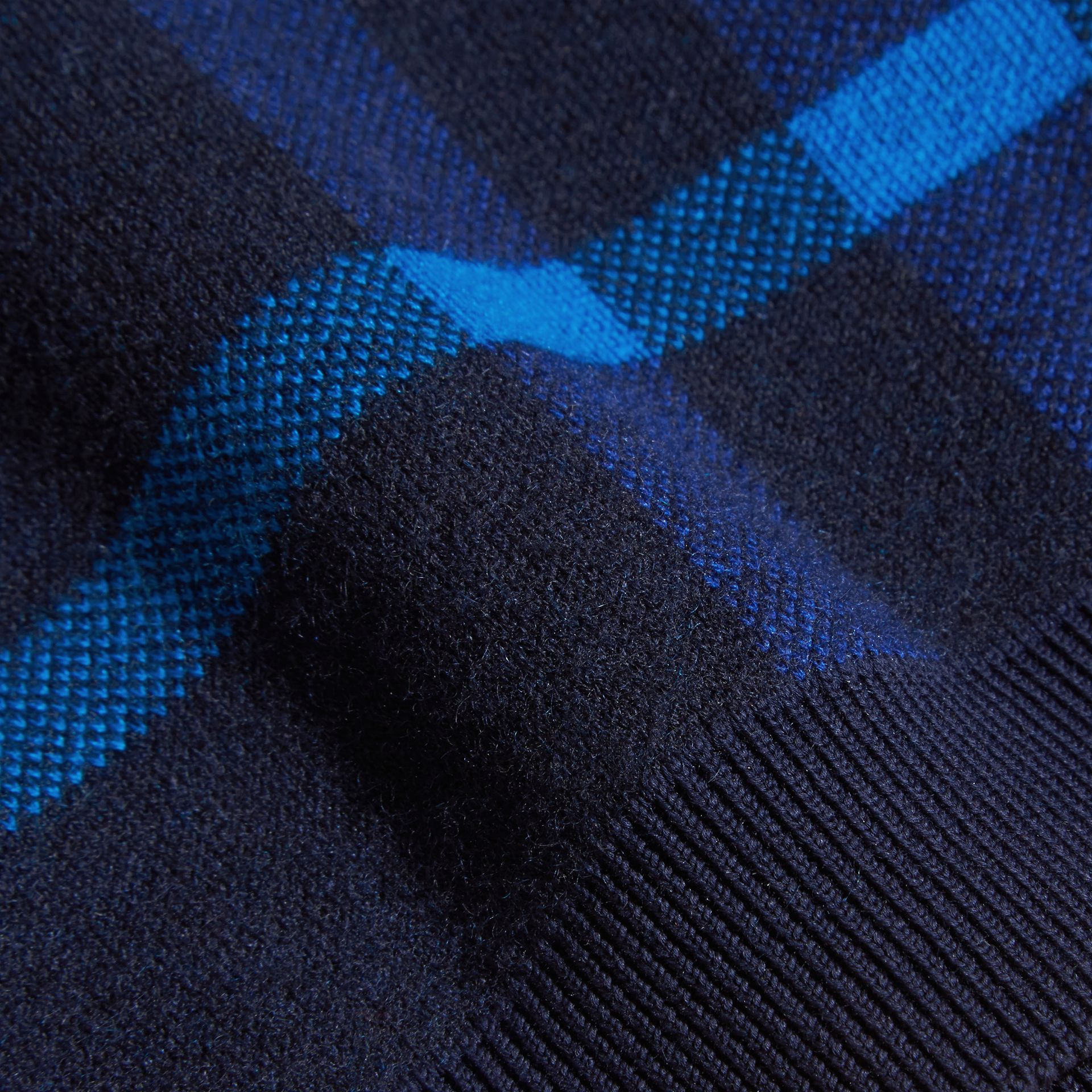 Navy Check Wool Cashmere Blend Sweater - gallery image 2