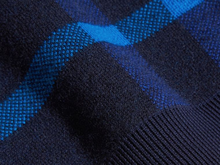 Navy Check Wool Cashmere Blend Sweater - cell image 1
