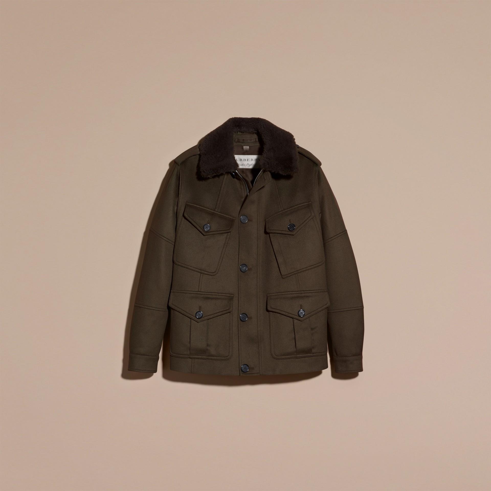 Dark green Shearling Topcollar Cashmere Field Jacket - gallery image 4