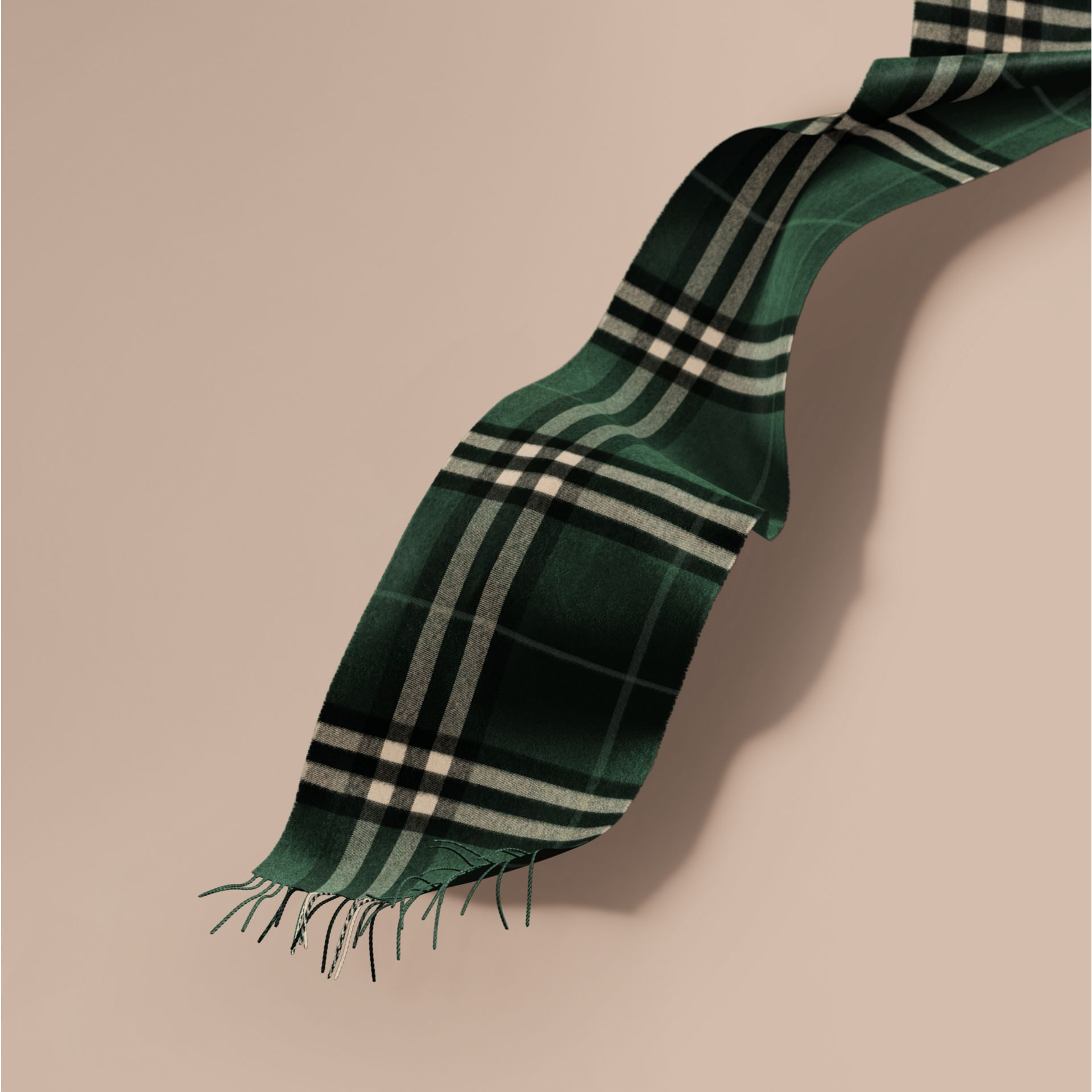 The Classic Cashmere Scarf in Check in Dark Forest Green - gallery image 1
