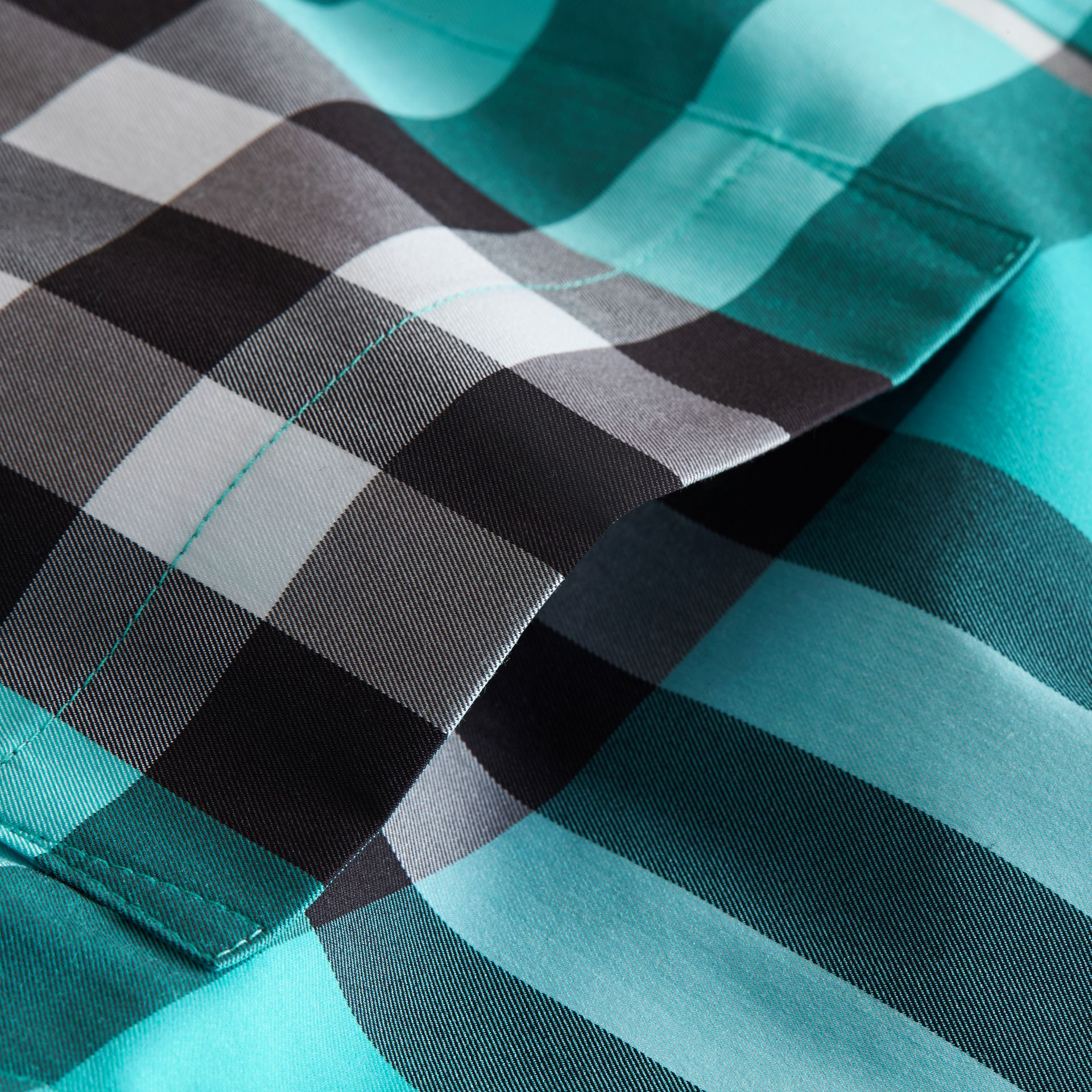 Check Stretch Cotton Shirt in Cyan Green - Men | Burberry - gallery image 2