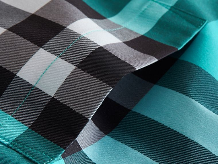 Check Stretch Cotton Shirt in Cyan Green - Men | Burberry - cell image 1