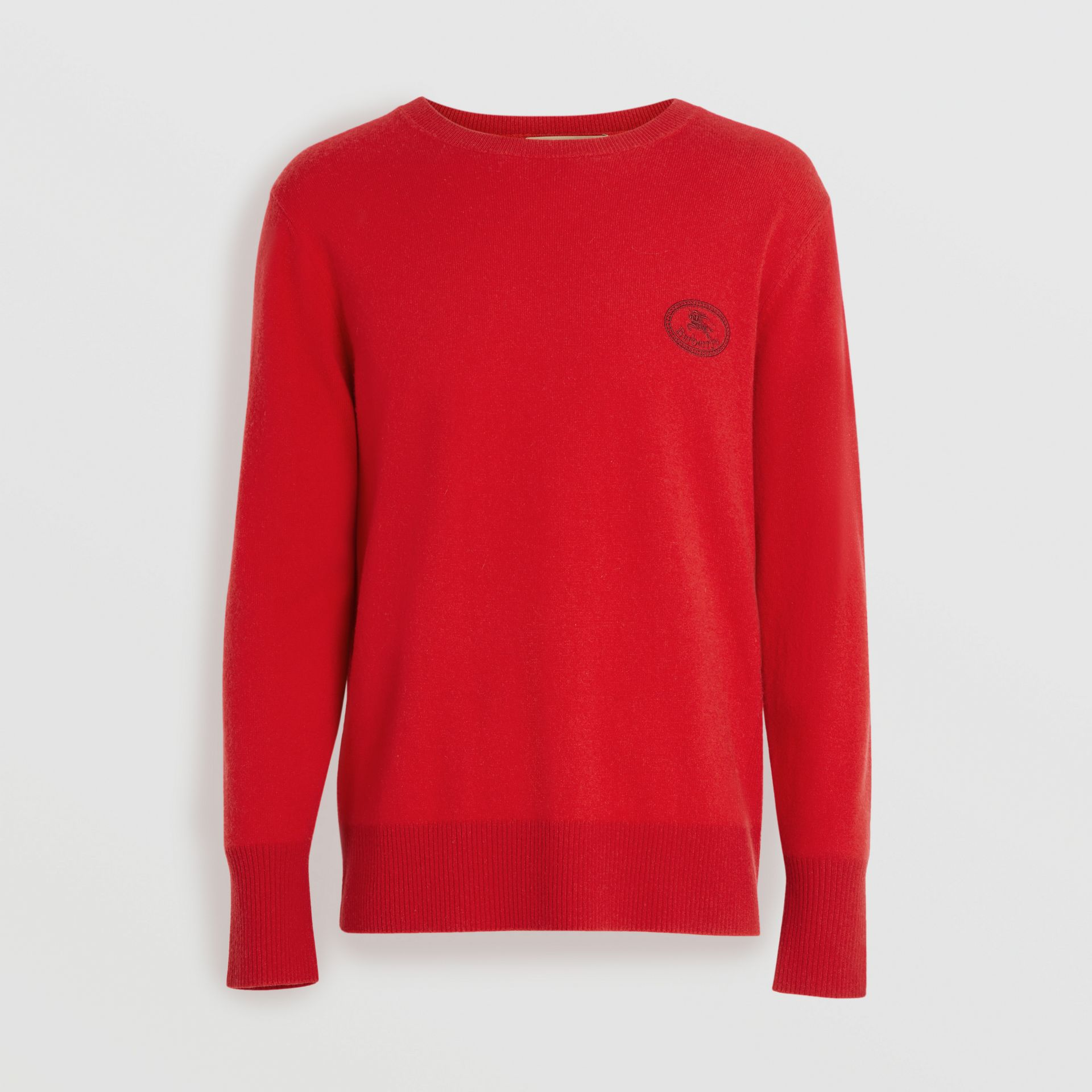 Embroidered Archive Logo Cashmere Sweater in Bright Red - Men | Burberry United Kingdom - gallery image 3