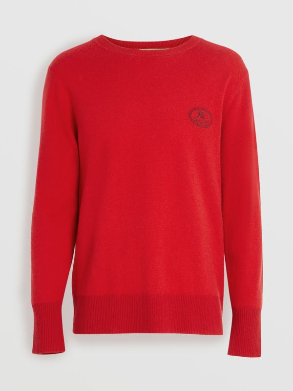 Embroidered Archive Logo Cashmere Sweater in Bright Red - Men | Burberry Australia - cell image 3