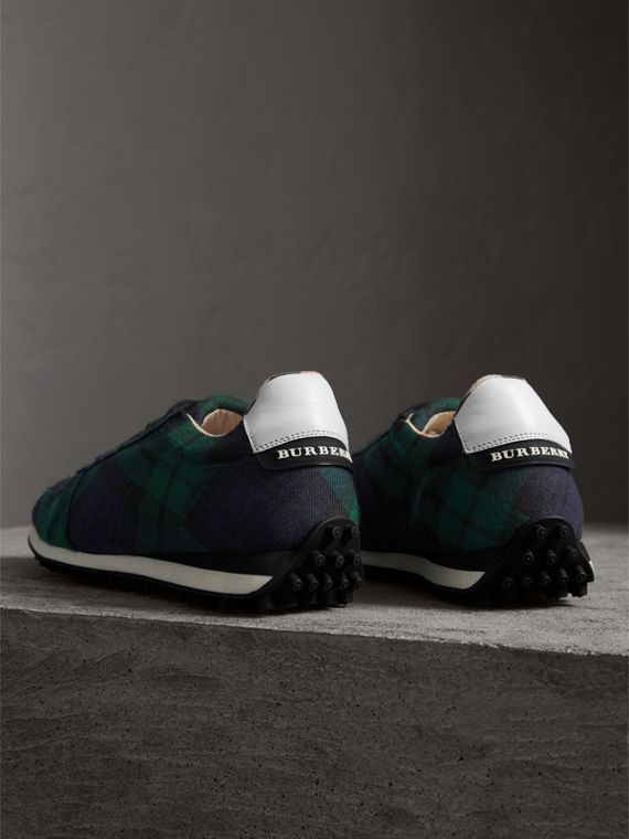 Tartan Wool Trainers in Ink Blue - Men | Burberry - cell image 3