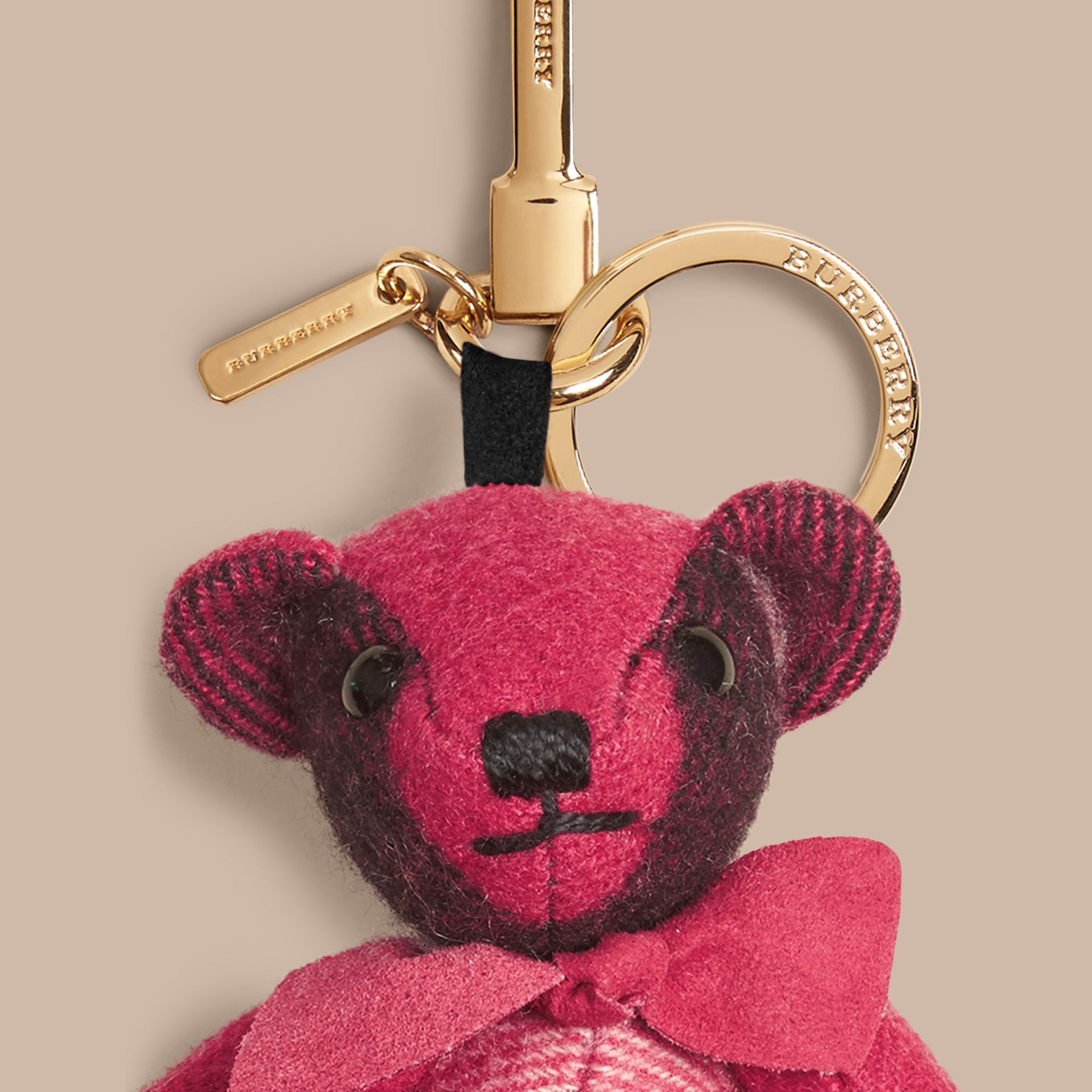 Thomas Bear Charm in Check Cashmere in Fuchsia Pink | Burberry - gallery image 2