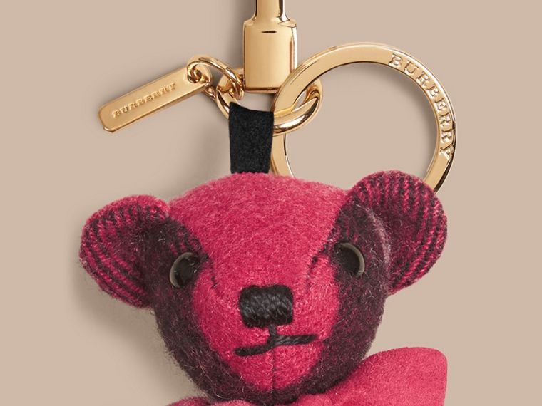 Thomas Bear Charm in Check Cashmere in Fuchsia Pink | Burberry - cell image 1