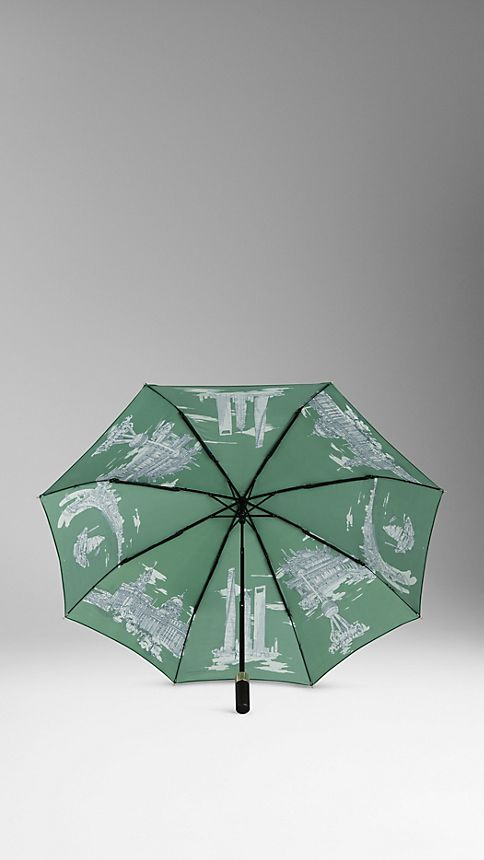 Bright cedar green Shanghai Landmarks Folding Umbrella - Image 2