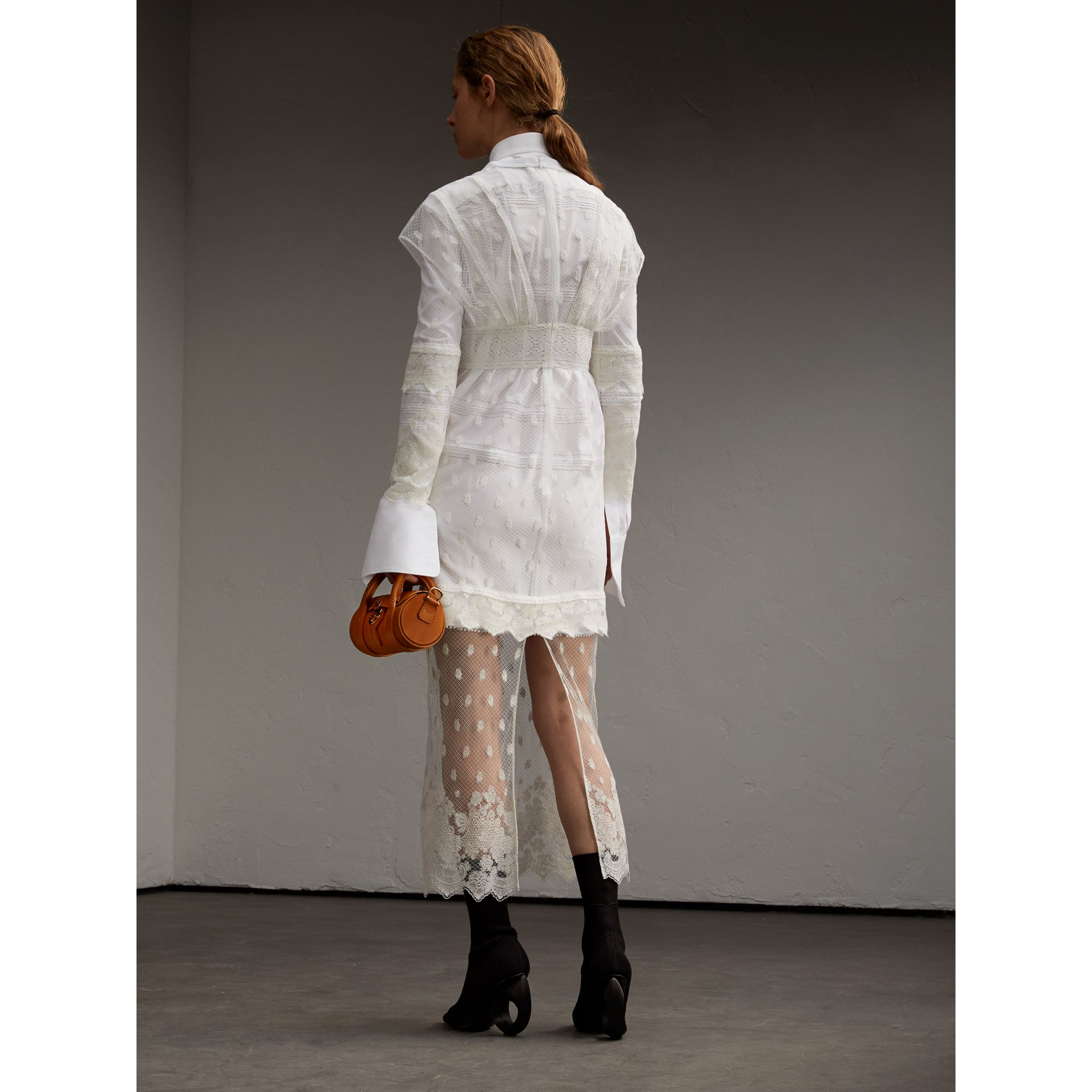 Embroidered Tulle and Cotton Shirt Dress in Off White - Women | Burberry - gallery image 3