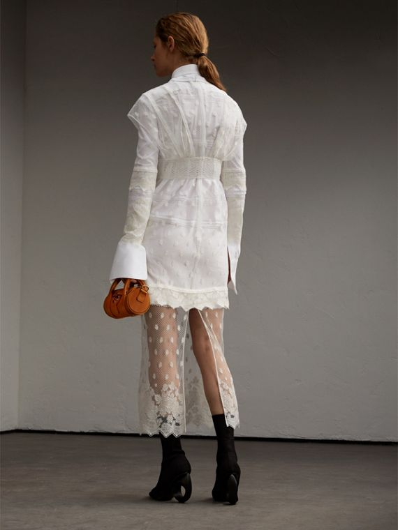 Embroidered Tulle and Cotton Shirt Dress in Off White - Women | Burberry - cell image 2