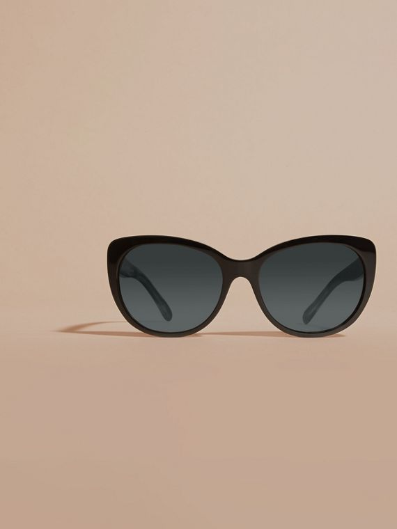 Black Gabardine Collection Oversize Round Frame Sunglasses - cell image 2