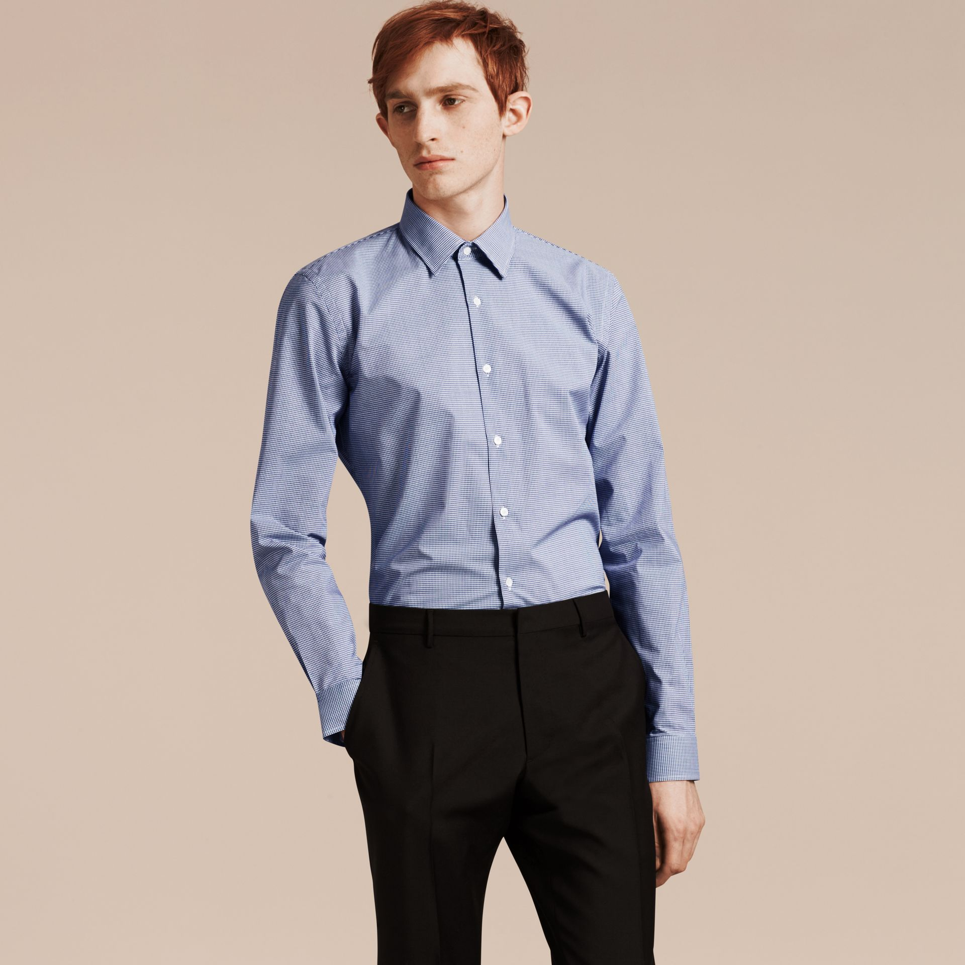 Slim Fit Gingham Cotton Poplin Shirt in Dark Empire Blue - gallery image 1