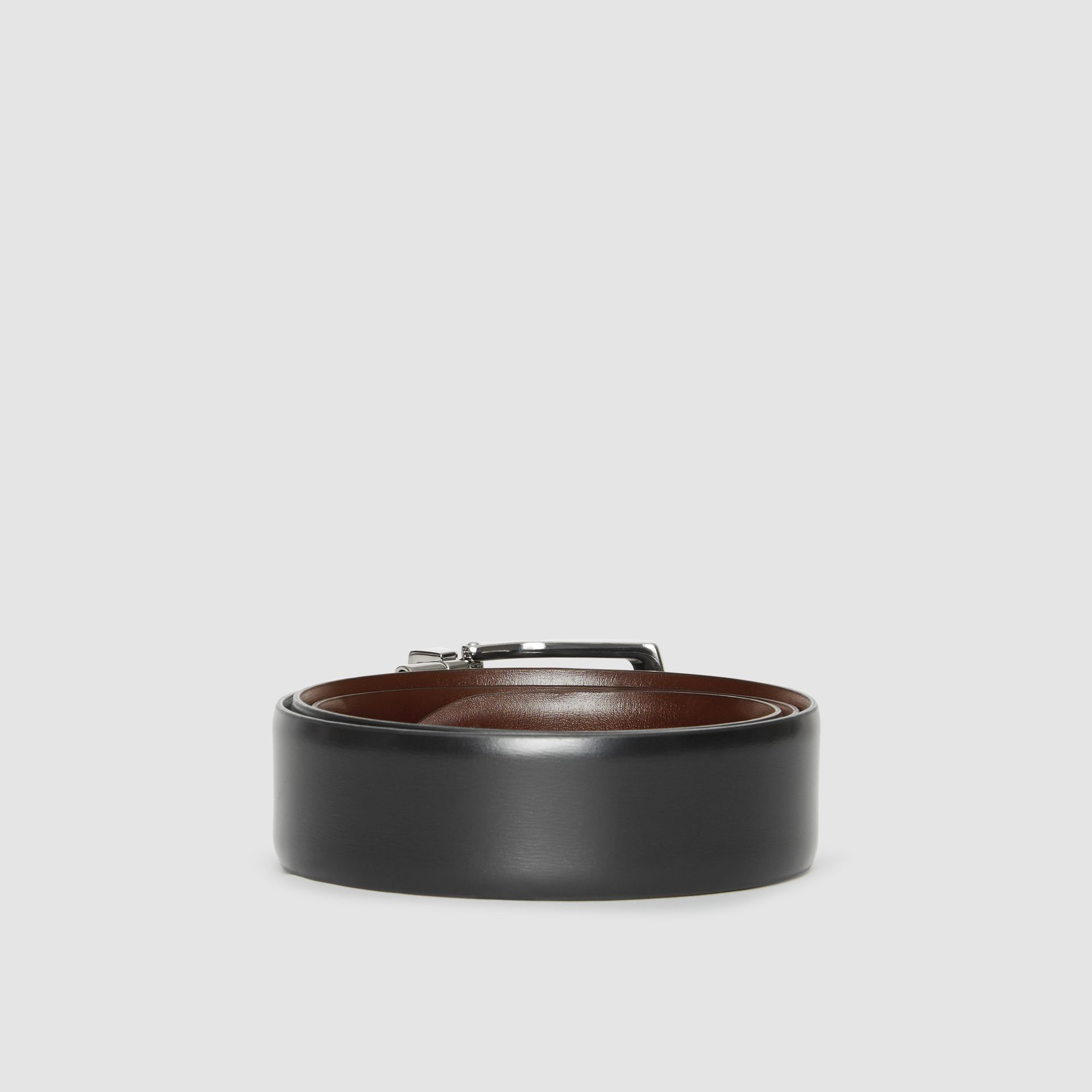 Reversible Leather Belt in Black/chocolate - Men | Burberry - gallery image 5