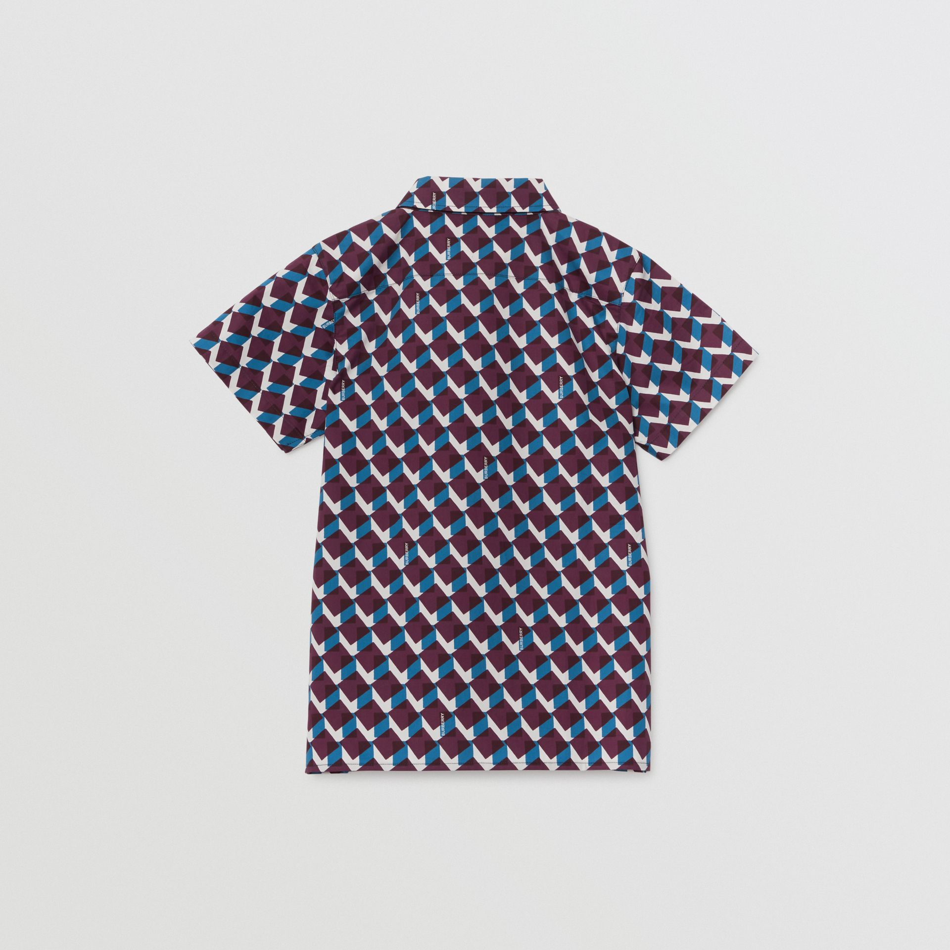 Short-sleeve Geometric Print Cotton Shirt in Mineral Blue | Burberry - gallery image 3