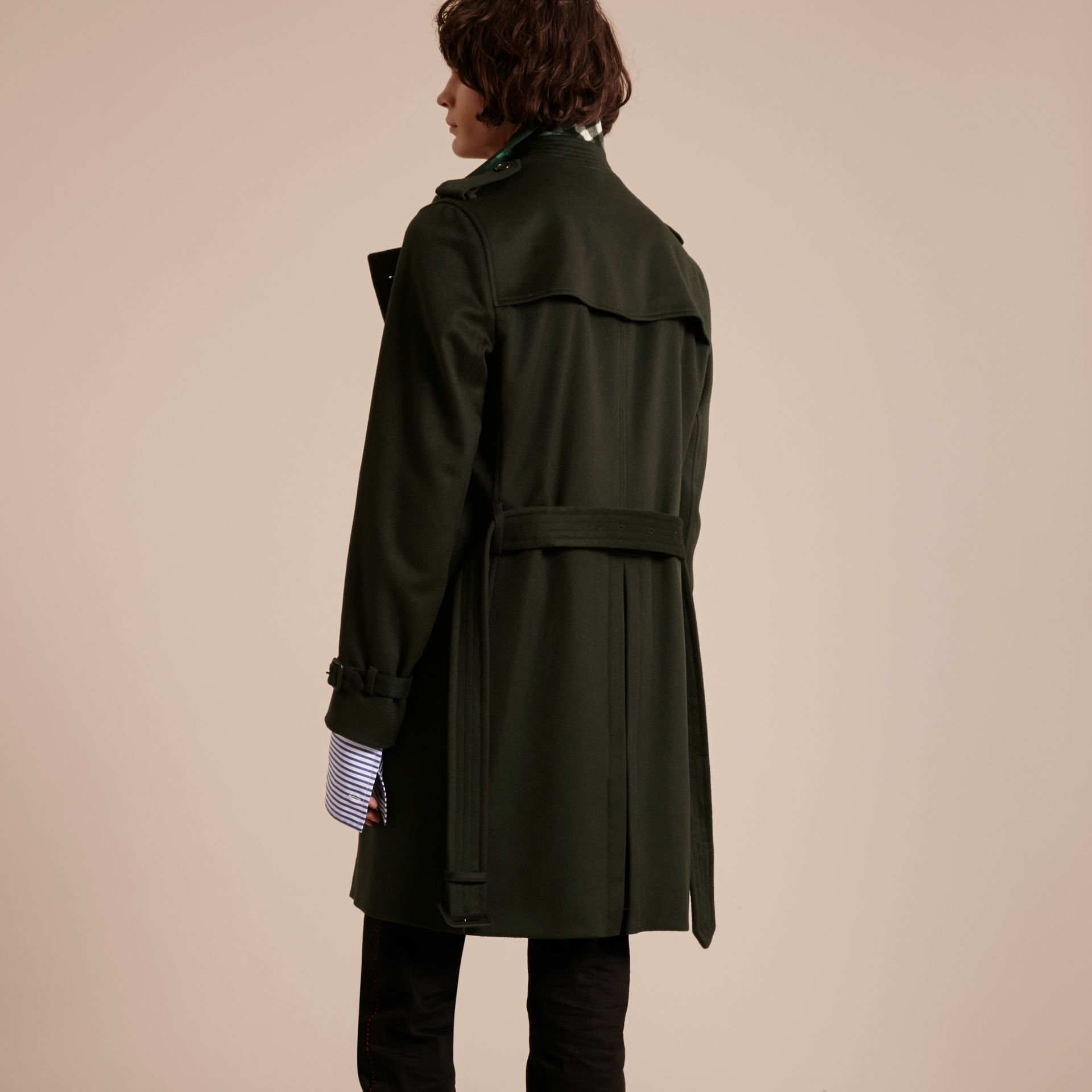 Dark military green Cashmere Trench Coat Dark Military Green - gallery image 2
