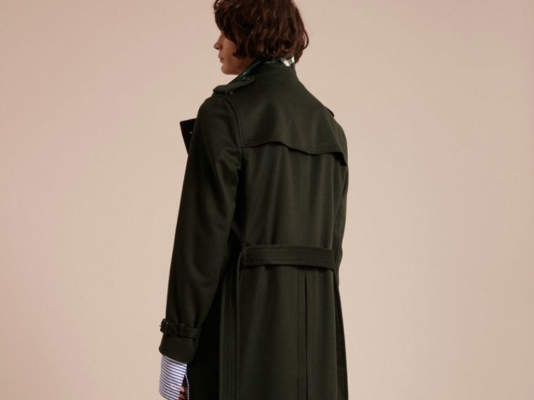 Cashmere Trench Coat in Dark Military Green - cell image 1