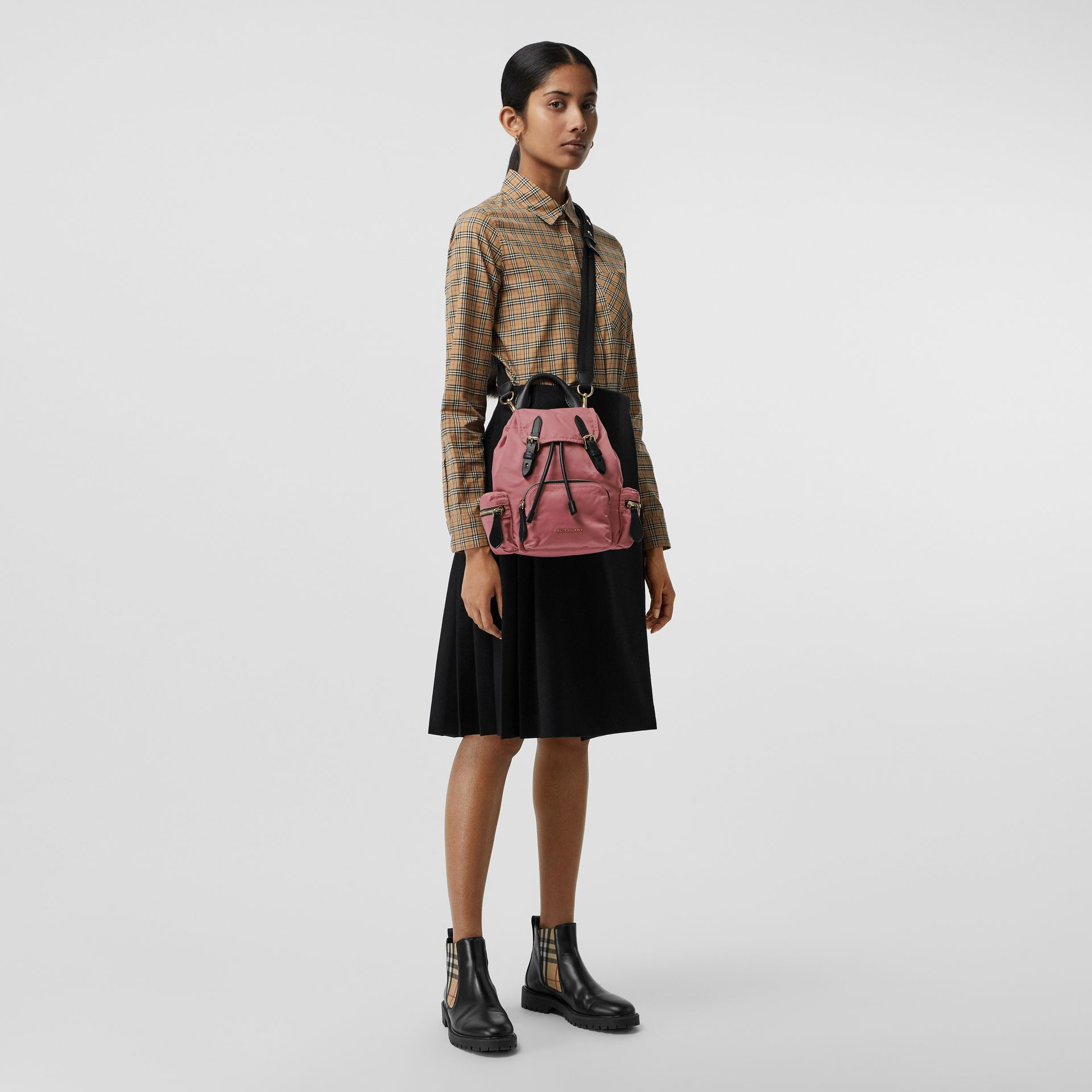 The Small Crossbody Rucksack in Nylon in Mauve Pink - Women | Burberry - gallery image 2