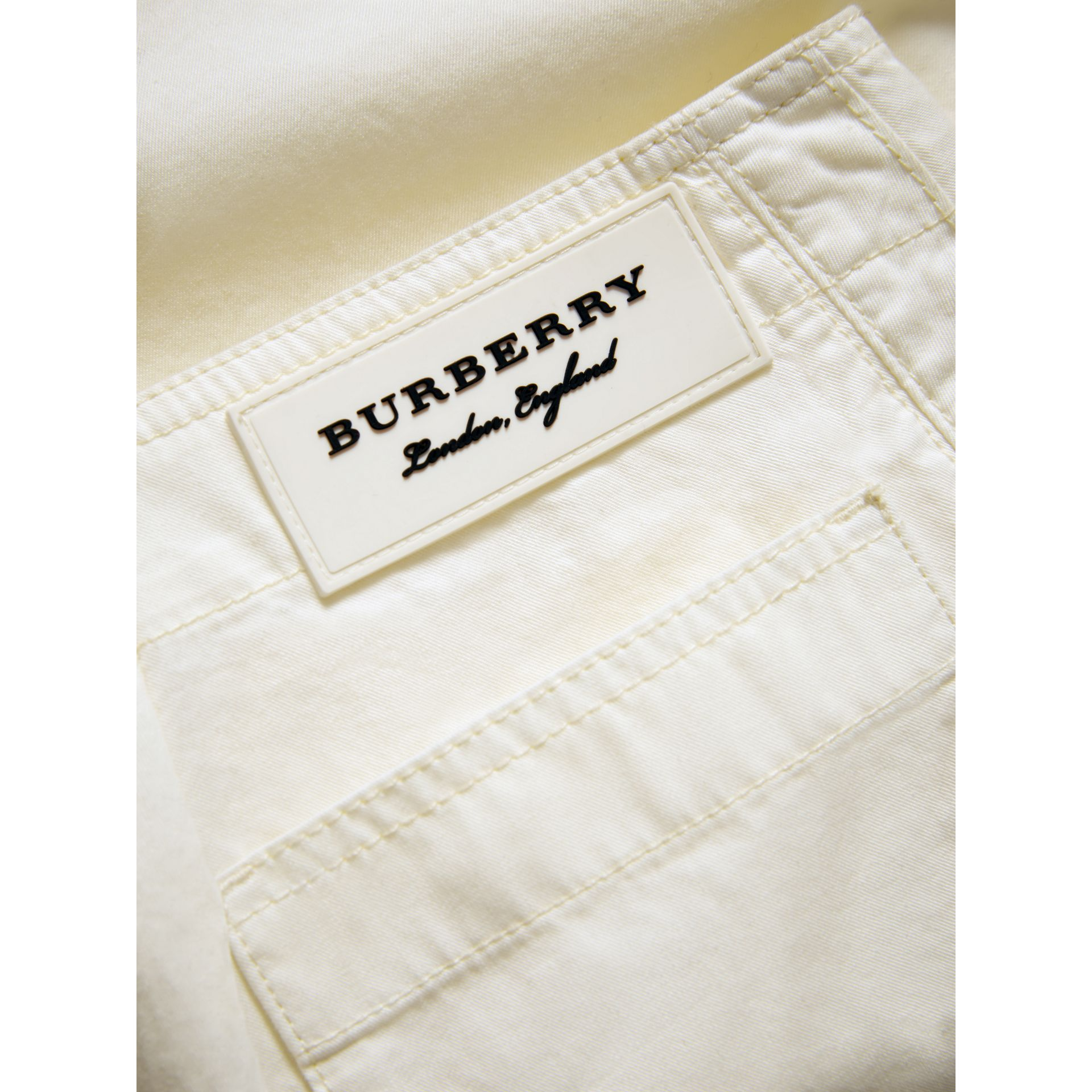 Cropped Wide-leg Cotton Trousers in Natural White | Burberry - gallery image 1