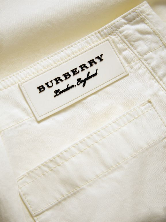 Cropped Wide-leg Cotton Trousers in Natural White | Burberry United Kingdom - cell image 1