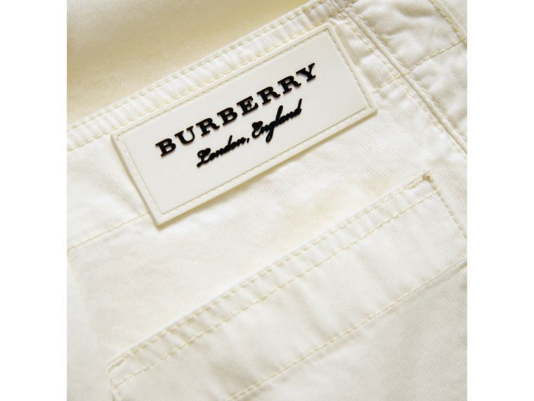 Cropped Wide-leg Cotton Trousers in Natural White - Girl | Burberry - cell image 1