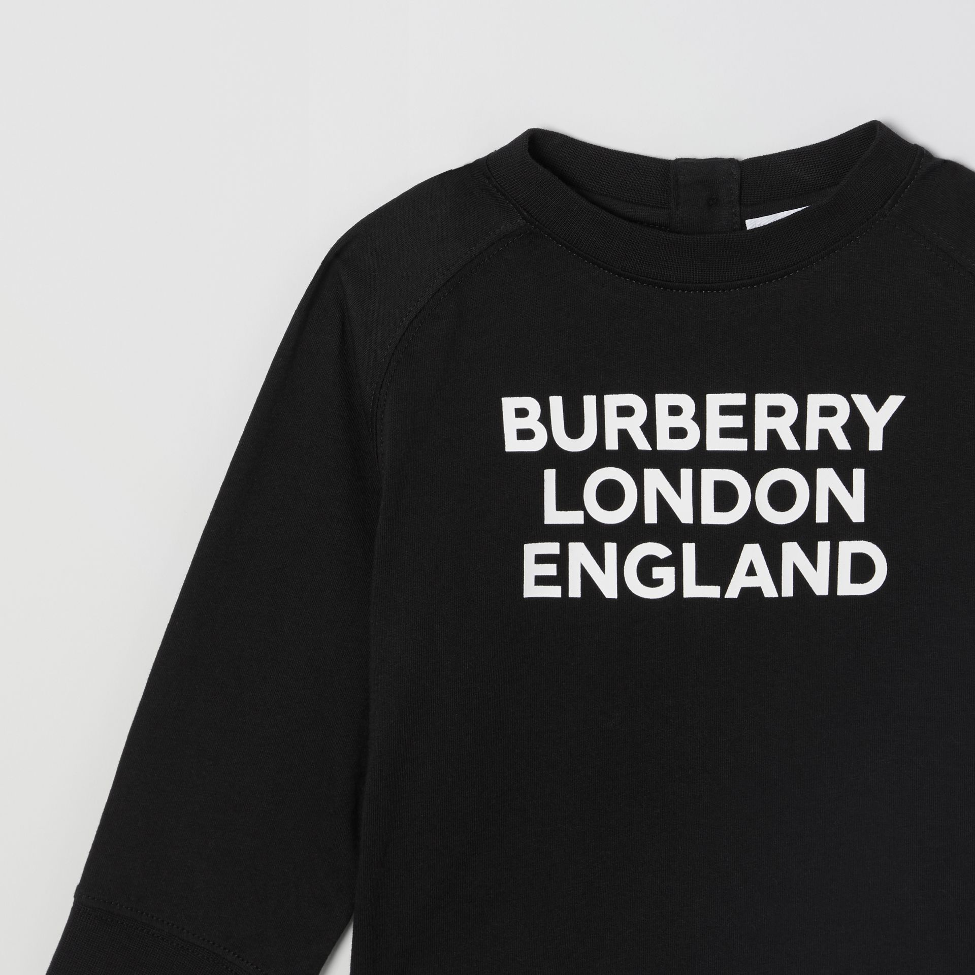 Long-sleeve Logo Print Cotton Top in Black - Children | Burberry United Kingdom - gallery image 5