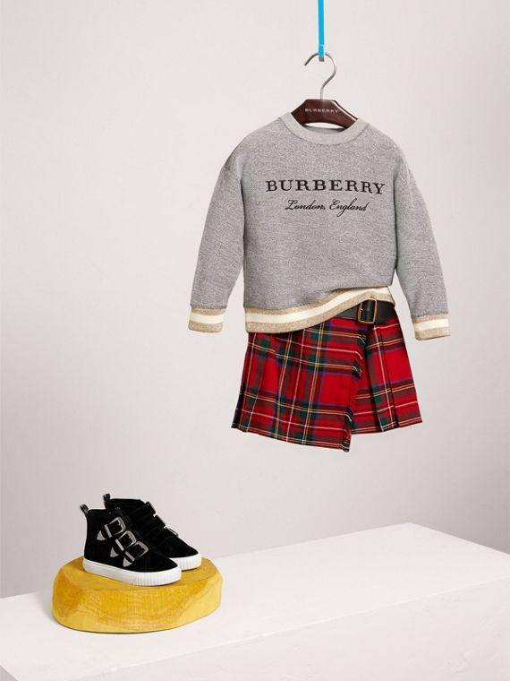 Raw Edge Detail Tartan Wool Kilt in Bright Red - Girl | Burberry - cell image 2