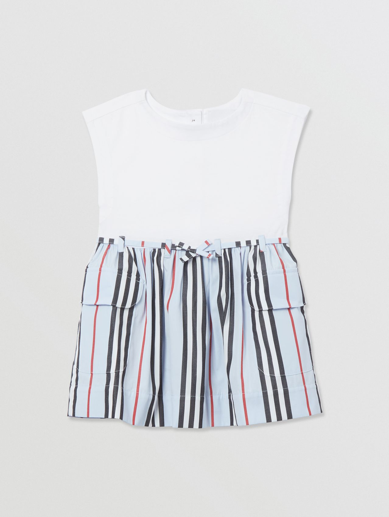 Icon Stripe Cotton Dress in White/pale Blue