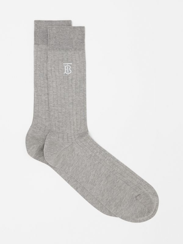 Monogram Motif Cotton Blend Socks in Grey | Burberry - cell image 2
