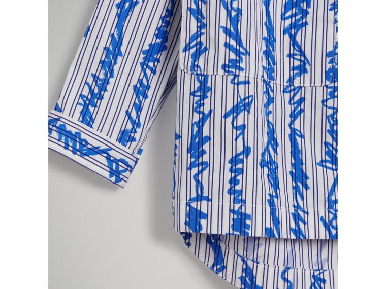 Scribble Stripe Cotton Shirt in Bright Blue - Girl | Burberry - cell image 4